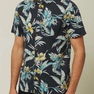 O'Neill Short Sleeve Button Down Gray Floral Shirt